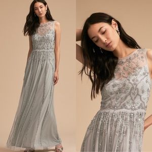 BHLDN Eliza Embellished Floral Beading Dress